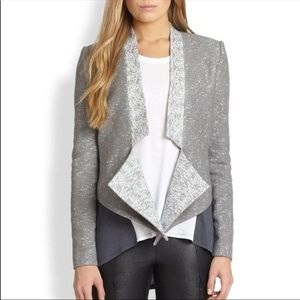 BCBG MaxAzria Candice Grey & White Tweed Blazer